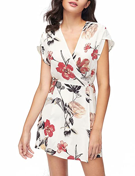 f3a862f1441 Amazon.com  Verochic Women s V Neck Floral Print Tie Waist Short Dress   Clothing