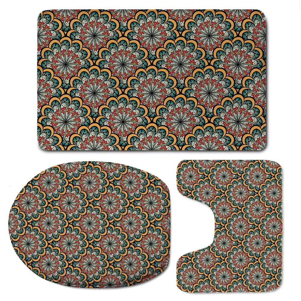 YOLIYANA Paisley Soft Bathroom 3 Piece Mat Set,Ethnic Design Flourishing Wavy Flowers Like Moroccan Inspired Artwork for Home,F:20'' W x31 H,O:14'' Wx18 H,U:20'' Wx16 H