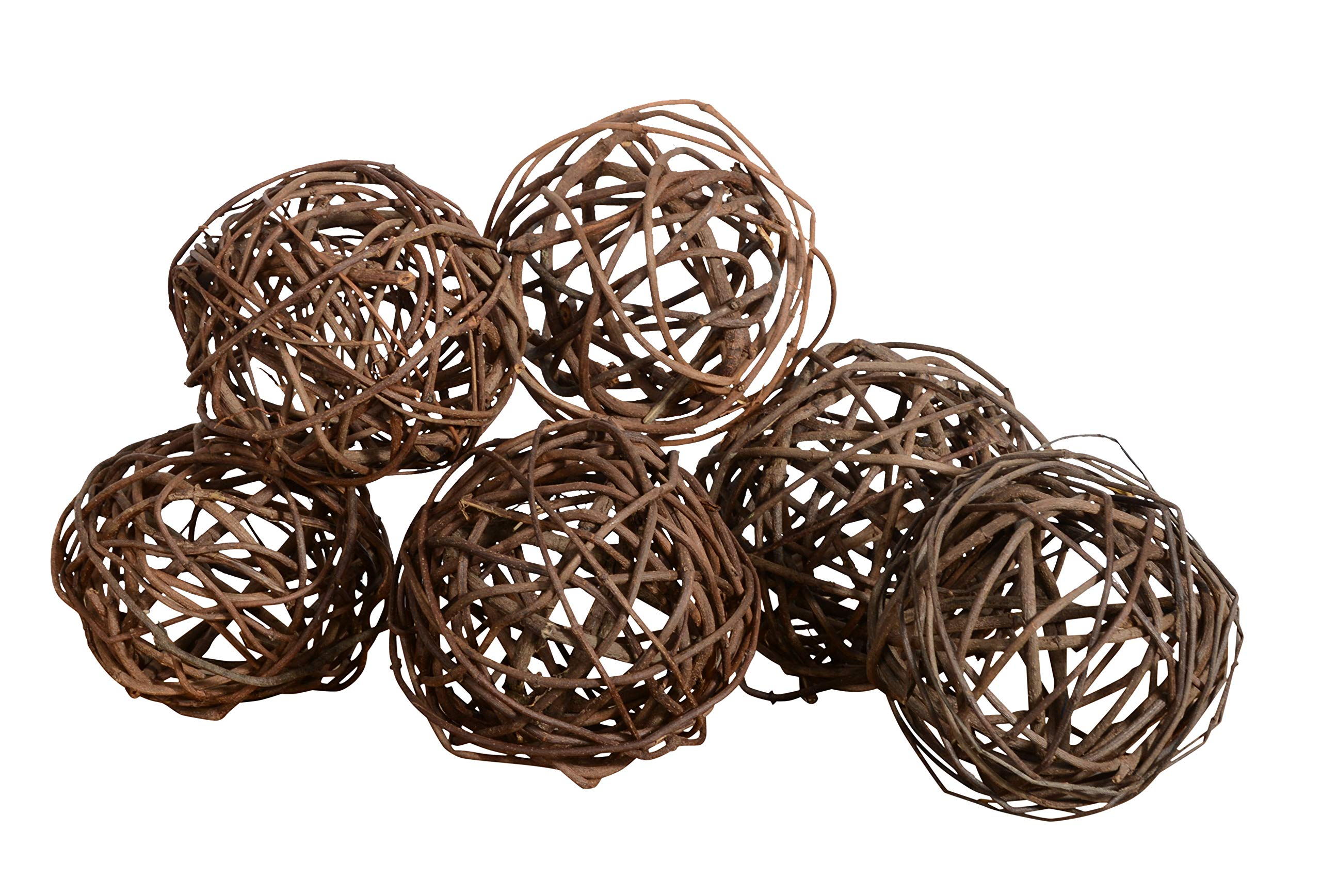 Set of 6 Natural Vine Balls 4 Inches Diameter, Bowl and Vase Filler by Ten Waterloo