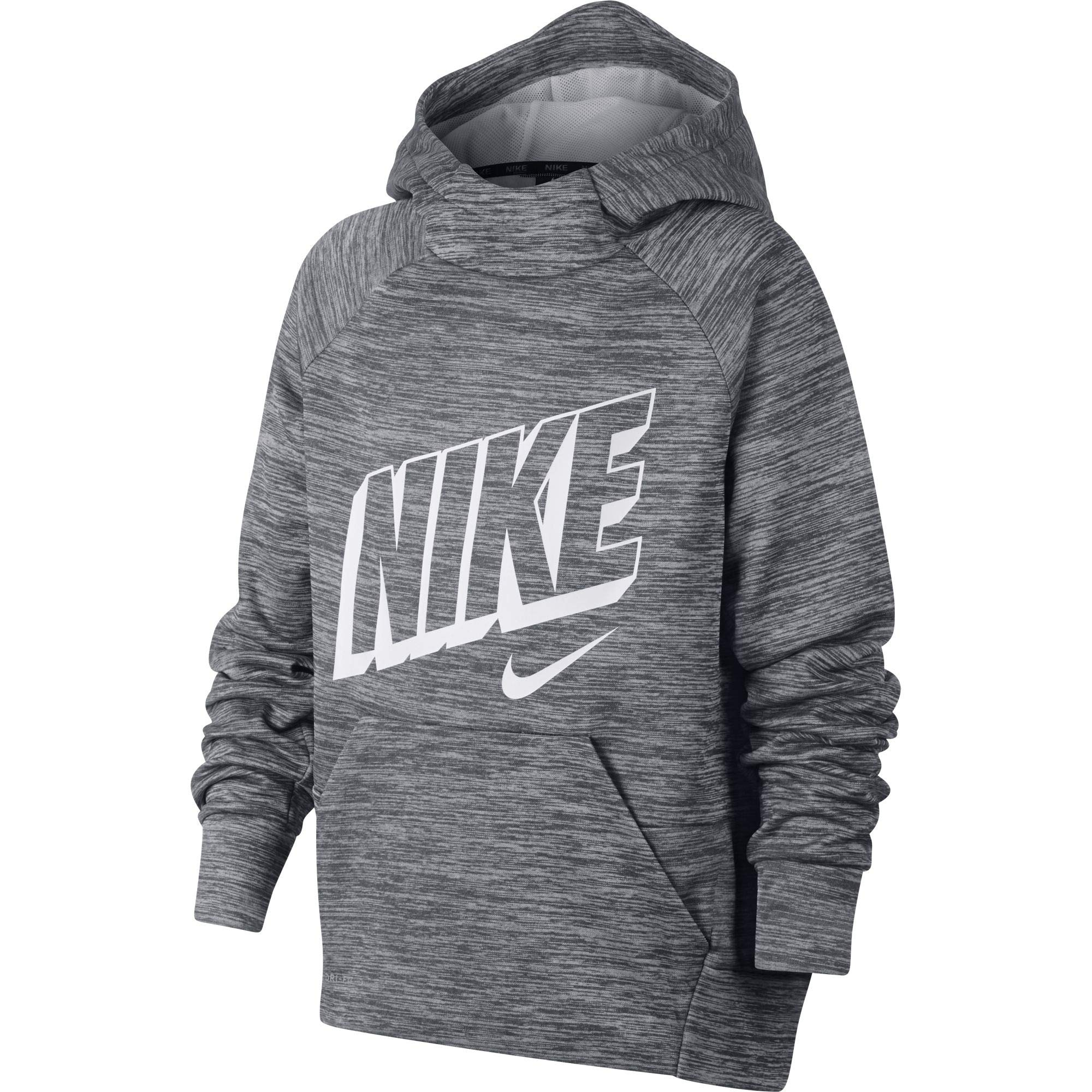 Nike Boy's Therma Graphic Training Pullover Hoodie Dark Grey/Pure/White Size Large