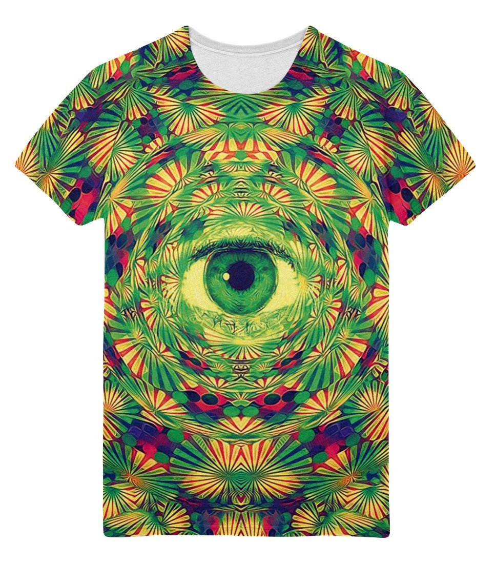 Angelteers Men's Green Big Eyes T-Shirts Digital Print Tops Cartoon Tees Psychedelic Clothes (LSD Design, XX-Large)