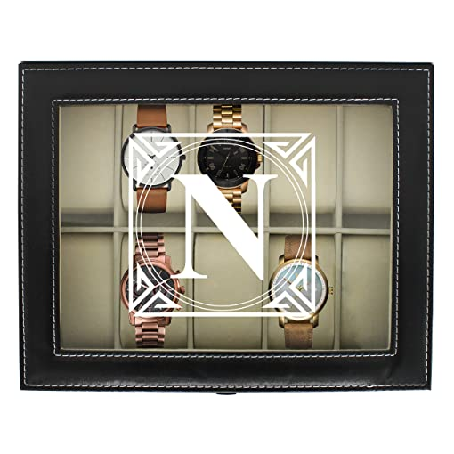 Personalized Watch Storage Box   Custom Engraved Watch Holder Case (Black)