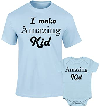 6a444b09 SuperPraise Father Daddy Daughter Dad Son Matching T Shirts I Make Amazing  Kid: Amazon.co.uk: Clothing