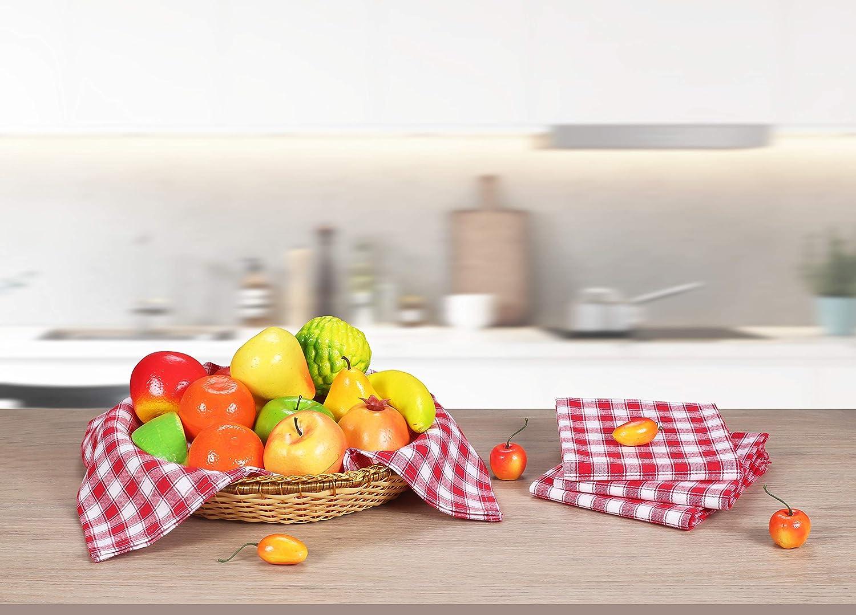 Lavabili in Lavatrice Strofinacci Cucina Cotone Bianchi e Arancione Clinica di Cotone 6 Strofinacci A Quadretti Grandi 45 x 70 cm Strofinacci Asciugapiatti Assorbenti