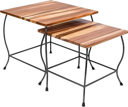 BIRDROCK HOME 2pc Acacia Wood Nesting Table