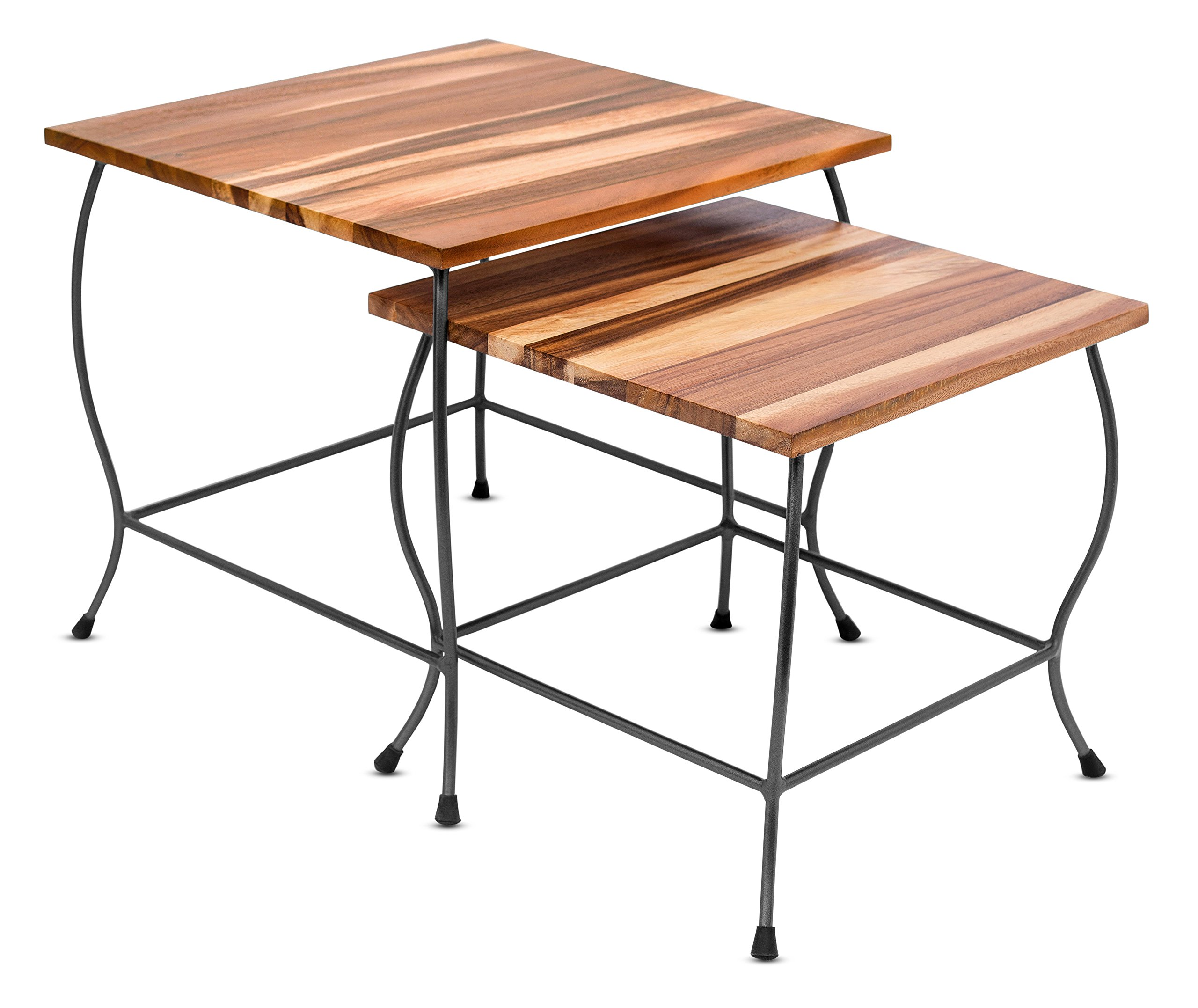 BirdRock Home 2pc Acacia Wood Nesting Tables | Natural Wood Bed Sofa Snack End Table | Industrial Design | Accent Side Table | Living Room