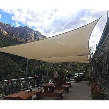 Coarbor 8' x 12' Rectangle Beige UV Block Sun Shade Sail Perfect for Patio Outdoor Garden