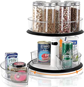 2 Tier Lazy Susan, Clear Plastic Height Adjustable Cabinet Organizer Turntable Round Spinning Large Spice Rack with Divided Storage Bins for Pantry Kitchen Vanity Countertop Bathroom Makeup Fridge
