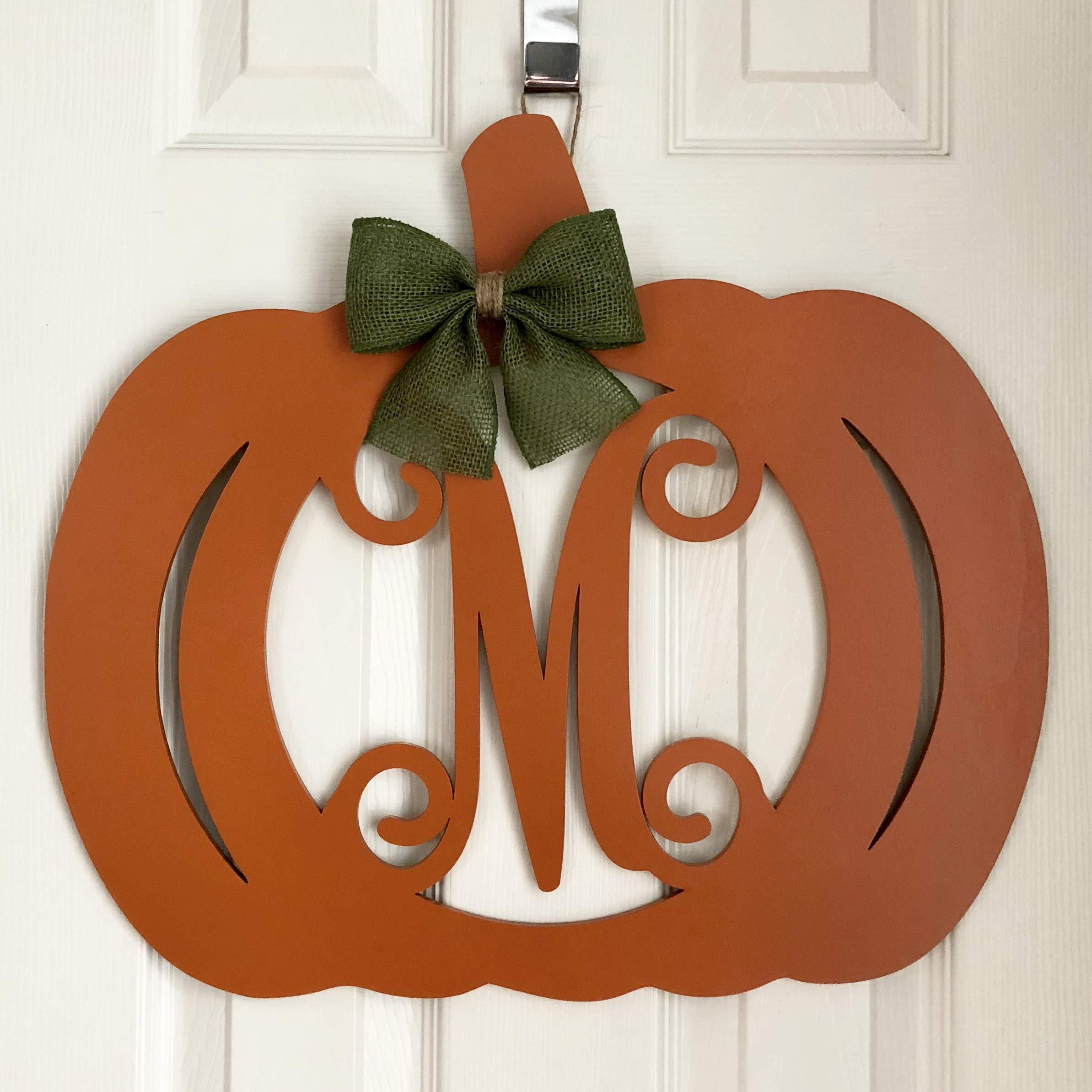 Monogram Pumpkin Door Hanger - Fall Door Hanger - Pumpkin Initial Wreath - Autumn Door Hanger - Pumpkin Wreath - Door Pumpkin Decor by Adore Your Door