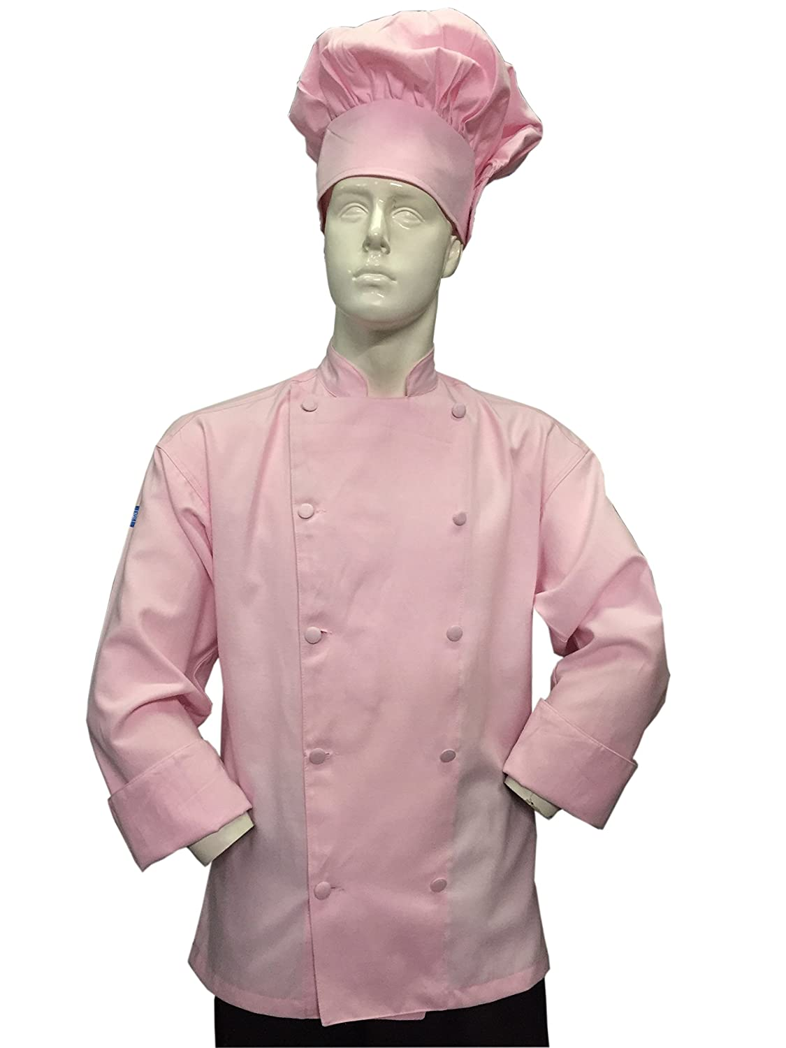 CHEFSKIN Soft Pink Chef Jacket Coat Cool Soft Twill Fabric Beautiful + Hat