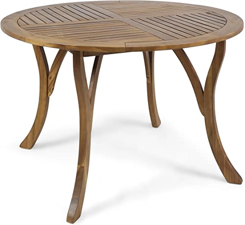 Christopher Knight Home 304867 Adn Outdoor 47 Round Acacia Wood Dining Table, Teak