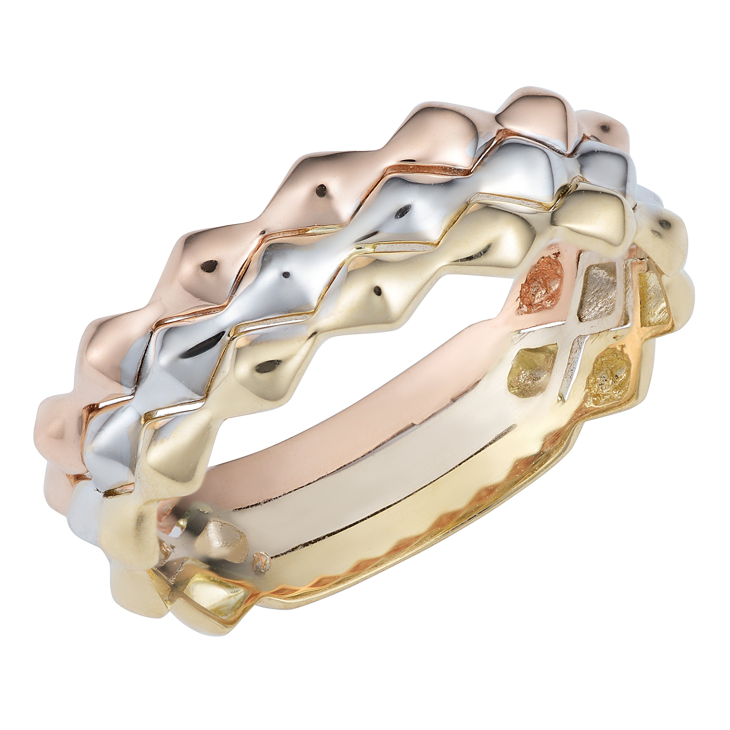 14k Tricolor Gold Triple Band Stackable Style Ring, Size 6 by JewelryAffairs