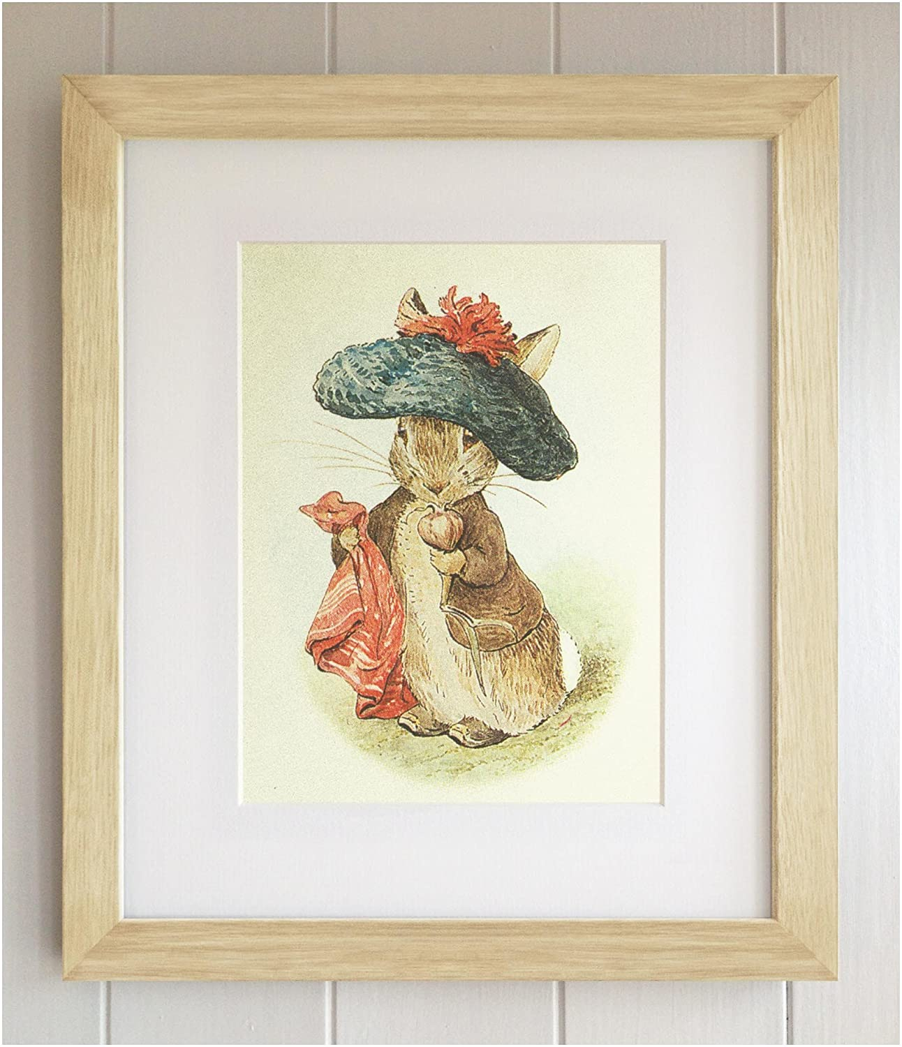 Benjamin Bunny New Baby//Birth 10x8 Solid Oak Frame Beatrix Potter FRAMED PRINT Christening Nursery Picture Gift Baby Shower Peter Rabbit and Friends