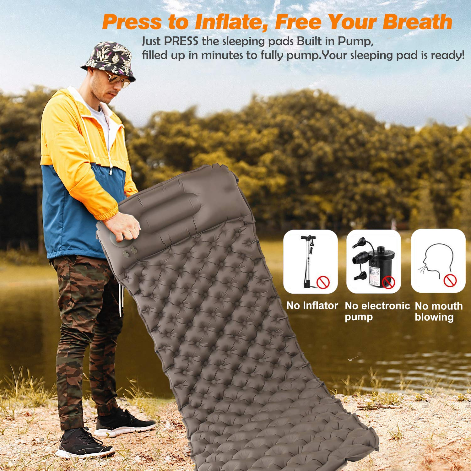 Traveling KAXYEW Inflatable Sleeping Pad Hiking Camping Pads for Sleeping with Built-in Pump Upgraded Sleeping Mats with Pillow for Backpacking Durable Waterproof Compact Ultralight Hiking Pad