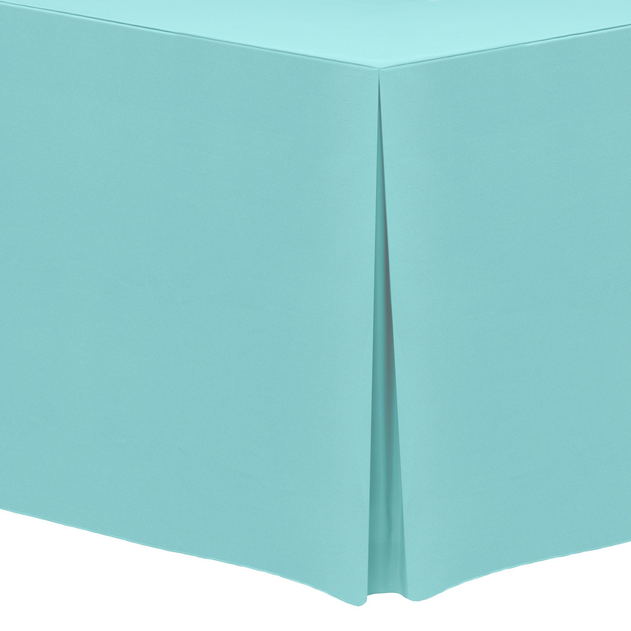 Ultimate Textile (5 Pack) 4 ft. Fitted Polyester Tablecloth - for 24 x 48-Inch Banquet and Folding Rectangular Tables, Aqua Blue