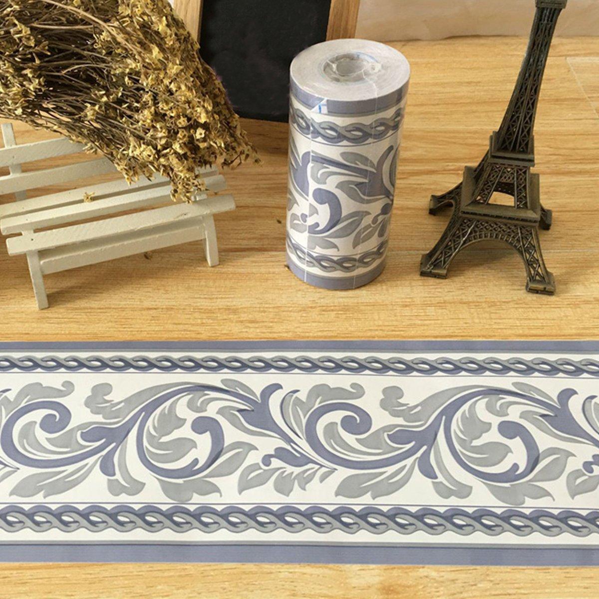 SimpleLife4U Moistureproof PVC Wallpaper Border Peel & Stick Scroll Wall Borders Sticker Home Decor