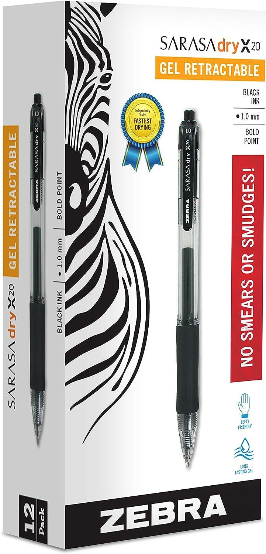 Zebra Pen Sarasa X20 - Bolígrafos retráctiles de tinta de gel, punta negrita de 1,0 mm, color negro, tinta seca rápida, paquete de 12 (El embalaje puede variar) (46610)