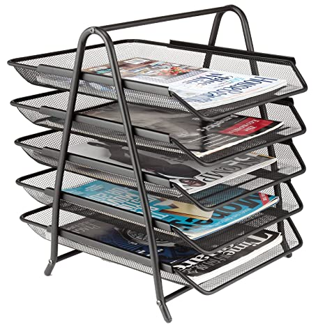 5 Tier Mesh Desk Letter Tray Organizer, Samstar File Holder Tray For Home  Office
