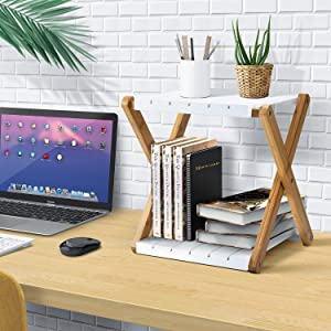 Nnewvante Shelving Unit Foldable Double Layer Shelves Stand Bamboo Wood Storage Shelf Rack Desktop Bookshelf Slim Coffee Table for Home Office- 2 Tier