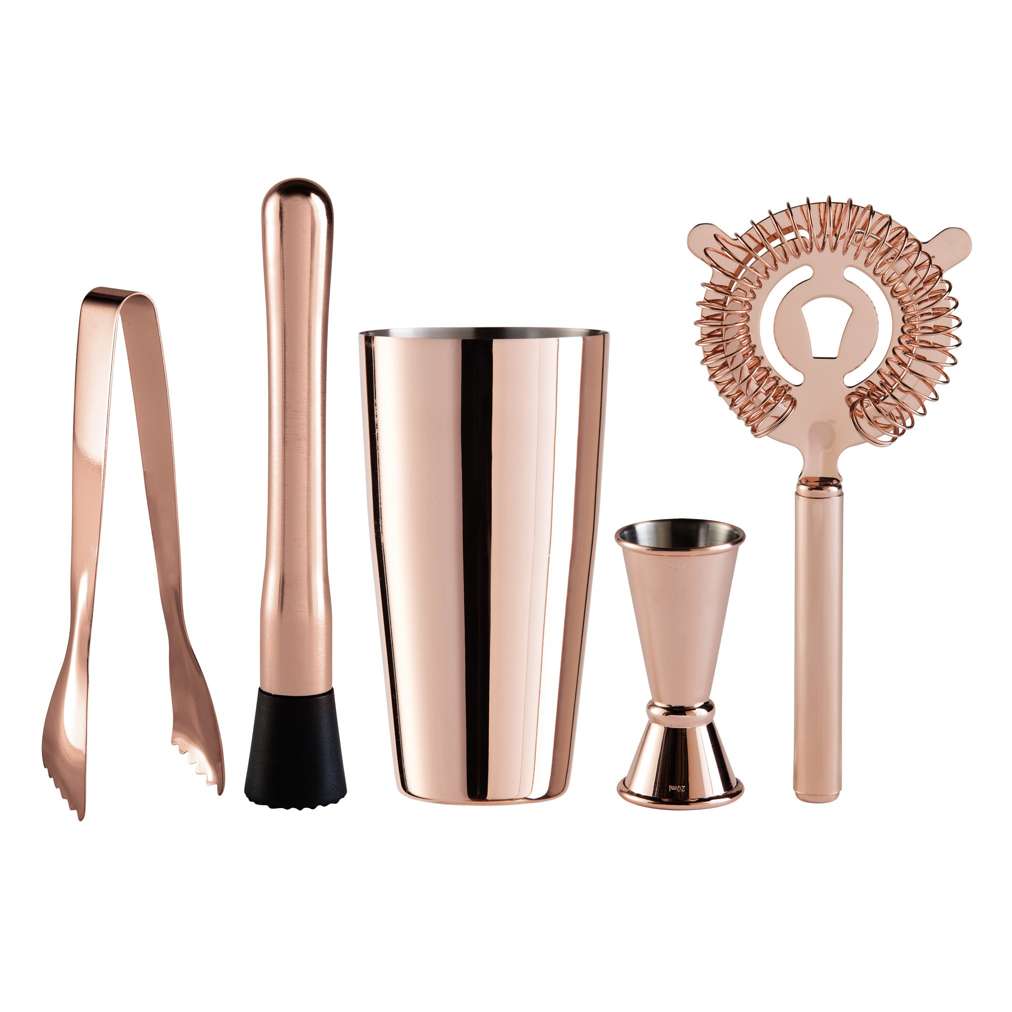 Oggi 5 Piece Stainless Steel Bartender Accessories with Plating Set-Includes Muddler, Glass Cocktail Shaker, Double Jigger, Ice Strainer and Tongs, Copper