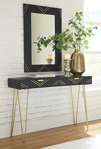 Signature Design by Ashley – Coramont Vanity Table w Mirror – Mid-Century Modern – Black Gold Finish