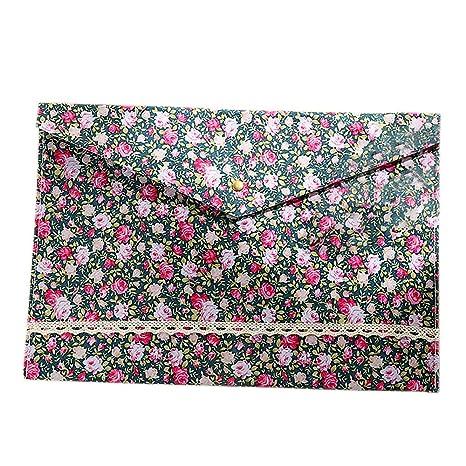 Archivadores A4 florales en sobre de algodón con cierre de botón para clasificación y almacenamiento de