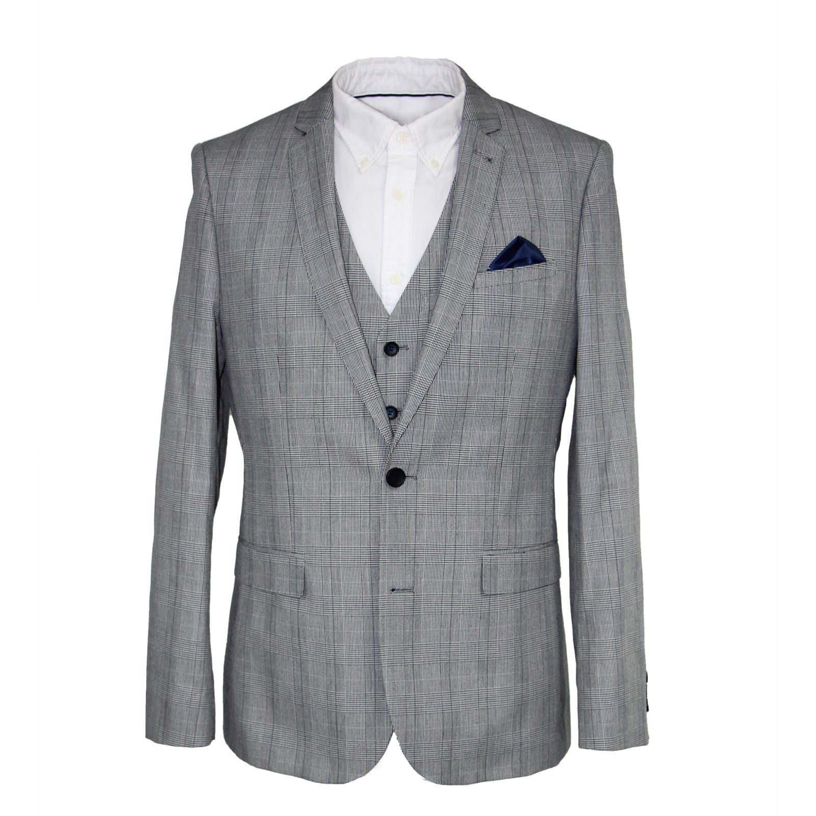 Harry Brown Three Piece Slim Fit Cotton Suit in Grey Check 40R