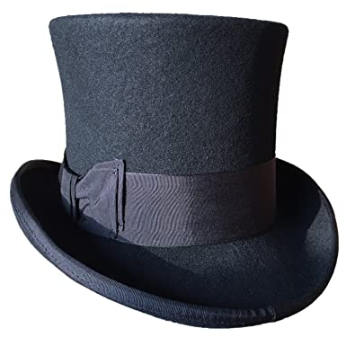 91398369c51 Black Wool Felt Top Hat Victorian Mad Hatter 7