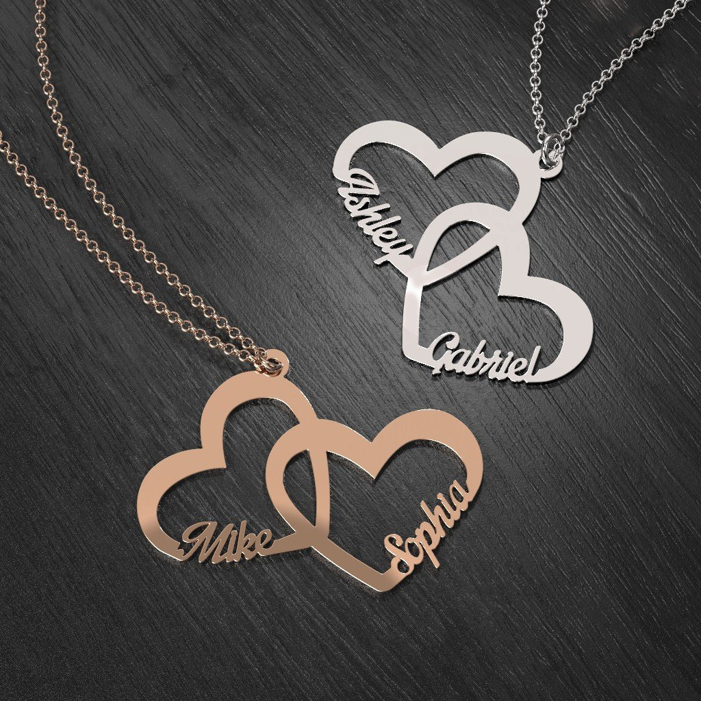 10K Gold Interlocked In Love Heart Name Necklace by JEWLR