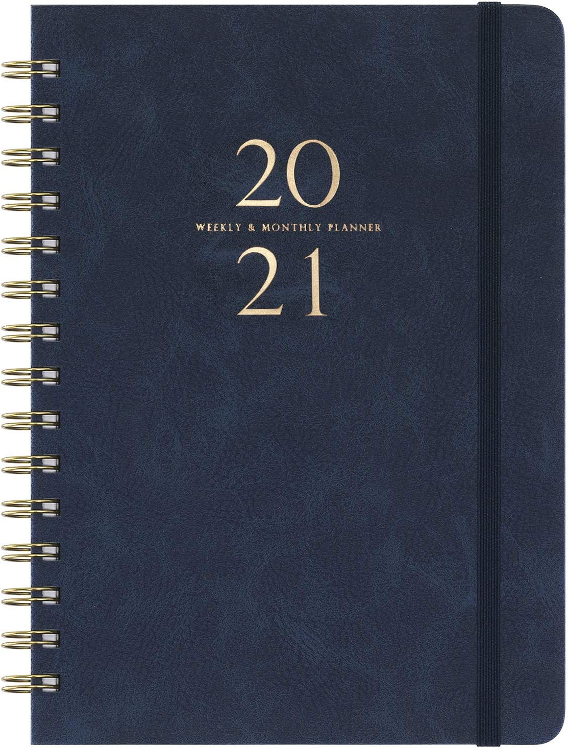 "2020-2021 Planner - Academic Weekly & Monthly Planner with Monthly Tabs, 6.3"" x 8.4"", July 2020-June 2021, Smooth Faux Leather & Flexible Cover with White Paper, Wirebound, Navy Blue"