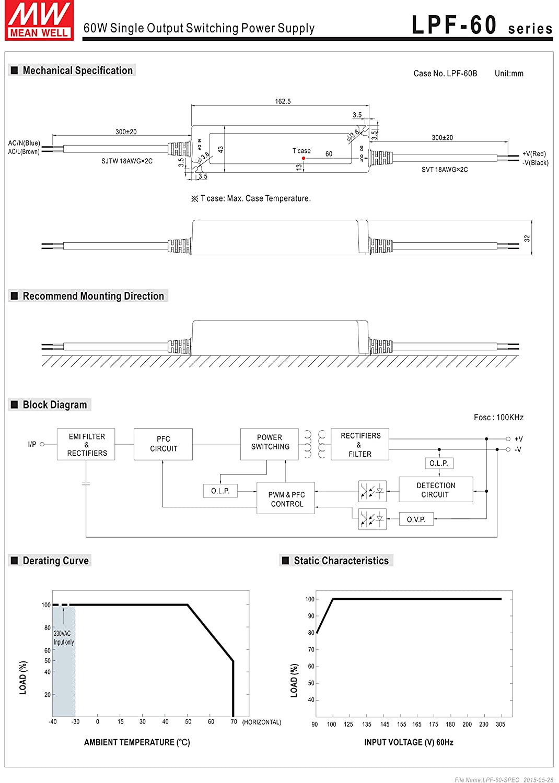 Mean Well LPF Series 60W 20V CC//CV AC LED Driver LPF-60-20