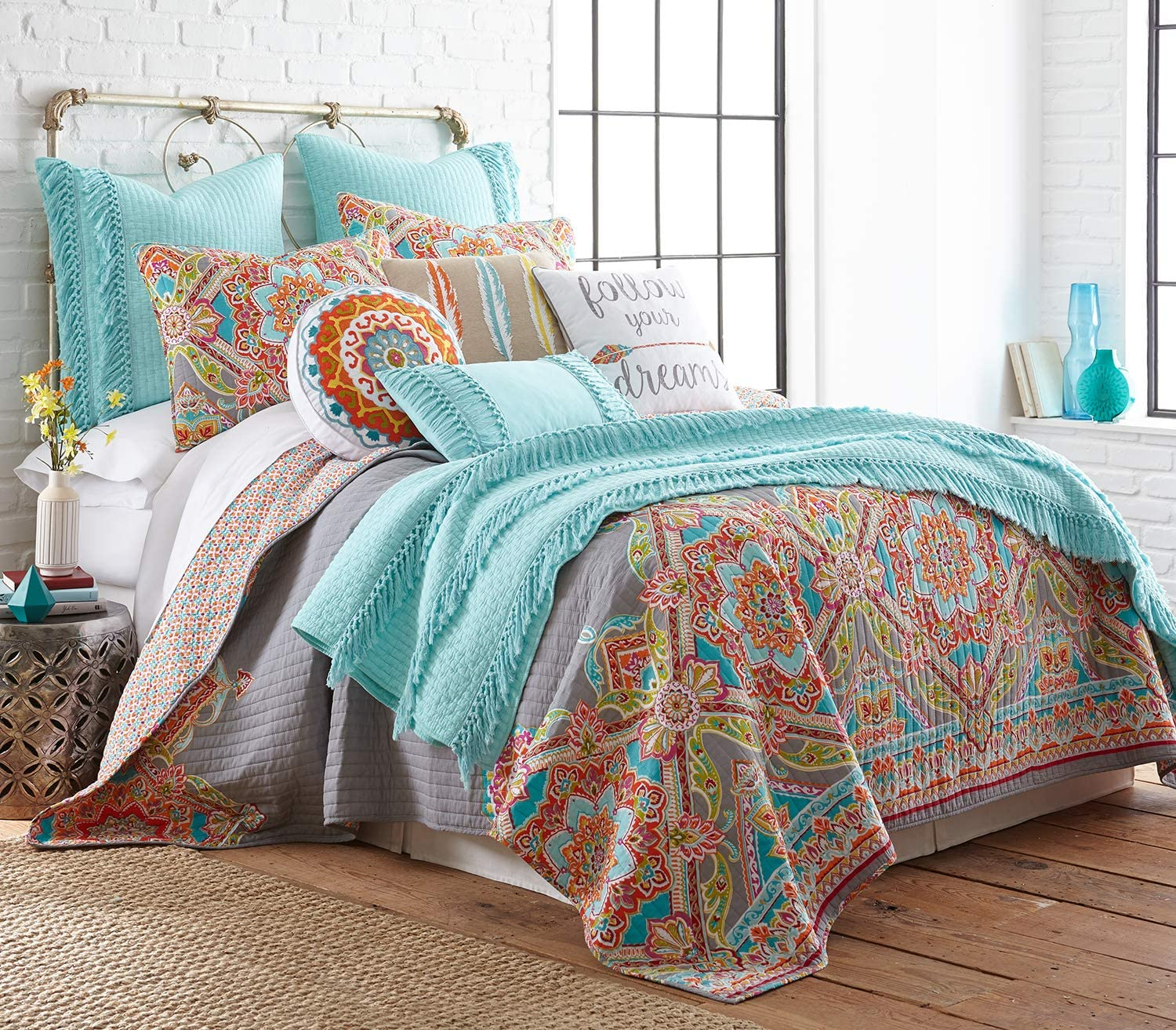 Levtex home - Bailen Quilt Set - Full/Queen Quilt + Two Standard Pillow Shams - Boho Medallion in Orange Teal Red Grey Green Pink - Quilt (88x92in.) and Pillow Shams (26x20in.) - Reversible - Cotton