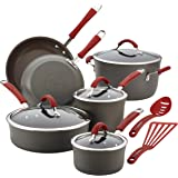Rachael Ray Cucina Hard-Anodized Aluminum Nonstick Cookware Set, 12-Piece, Gray, Cranberry Red Handles