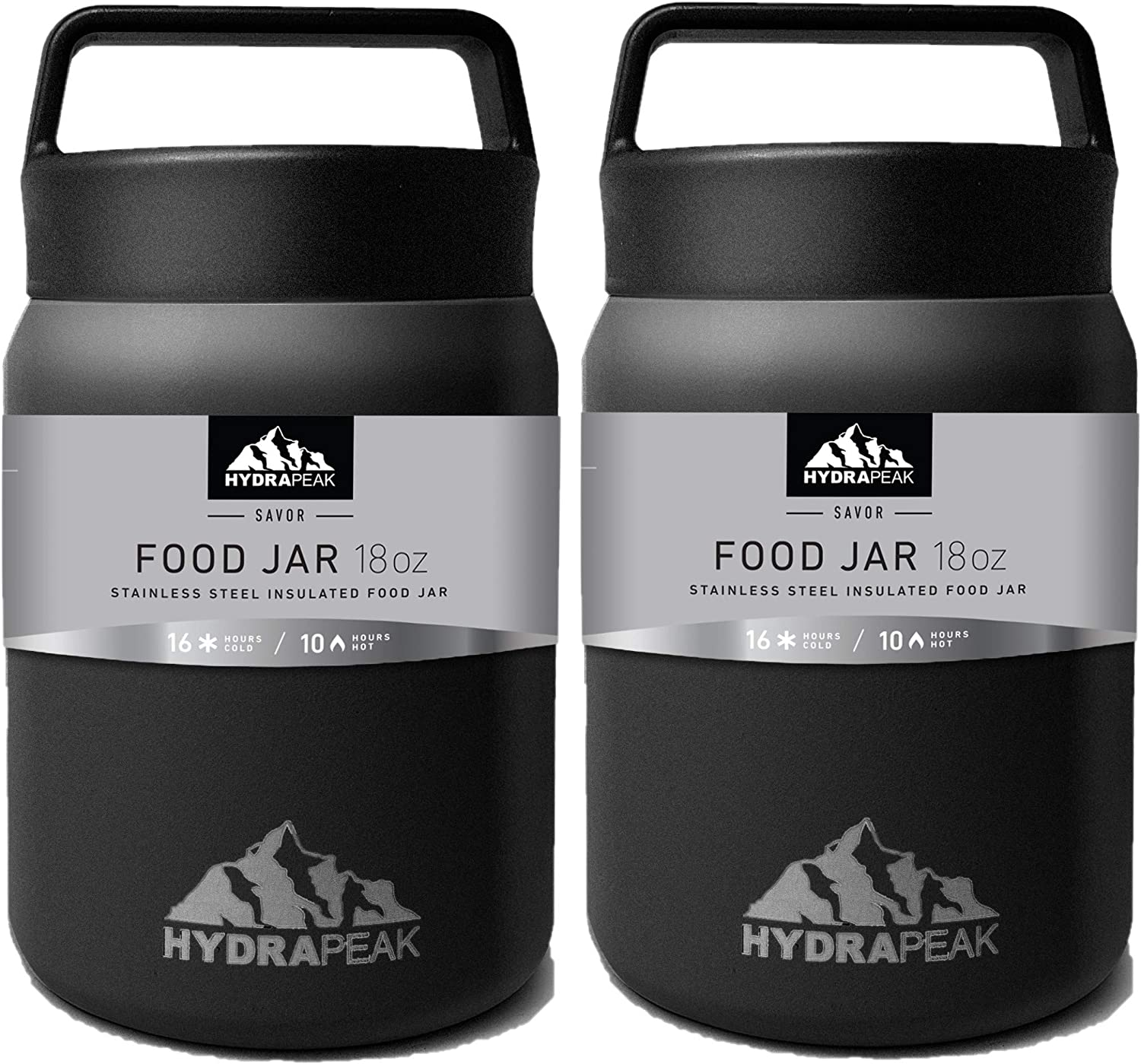 Hydrapeak 18oz Soup Thermos Food Jar | Stainless Steel Double-wall Vacuum Insulated |Travel Food Flask for Kids, Adults, Men, and Women (Black, 18oz-2PK)