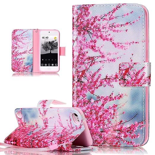 Kompatibel mit iPod Touch 6G Hülle,iPod Touch 5G Hülle,Bunte Gemalt PU Lederhülle Flip Hülle Cover Schale Ständer Etui Karten