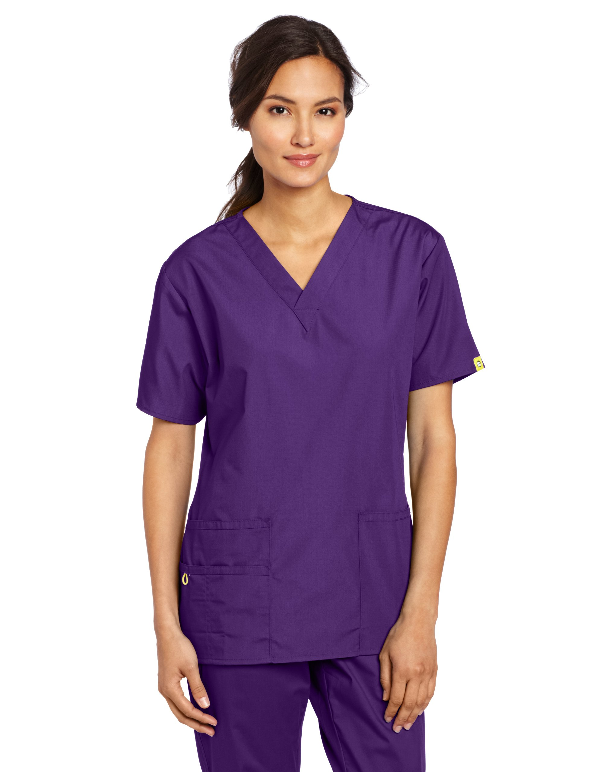 WonderWink Women's Scrubs Bravo 5 Pocket V-Neck Top, Grape, 2X-Large