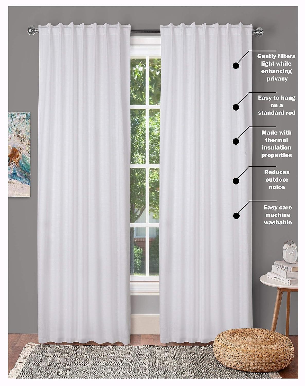Farm House Curtain-Cotton Textured Slub fabric 50x84 -White, Cotton Curtains,2 Panels Curtain,Tab Top curtains,Room Darkening Drapes,Curtains For Bedroom,Curtains For Living Room,Curtains Set of 2