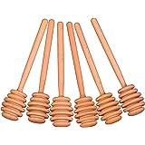 Creative Hobbies® 6 Inch Wood Honey Dipper Stick Server for Honey Jar Dispense Drizzle Honey New -Pack of 6