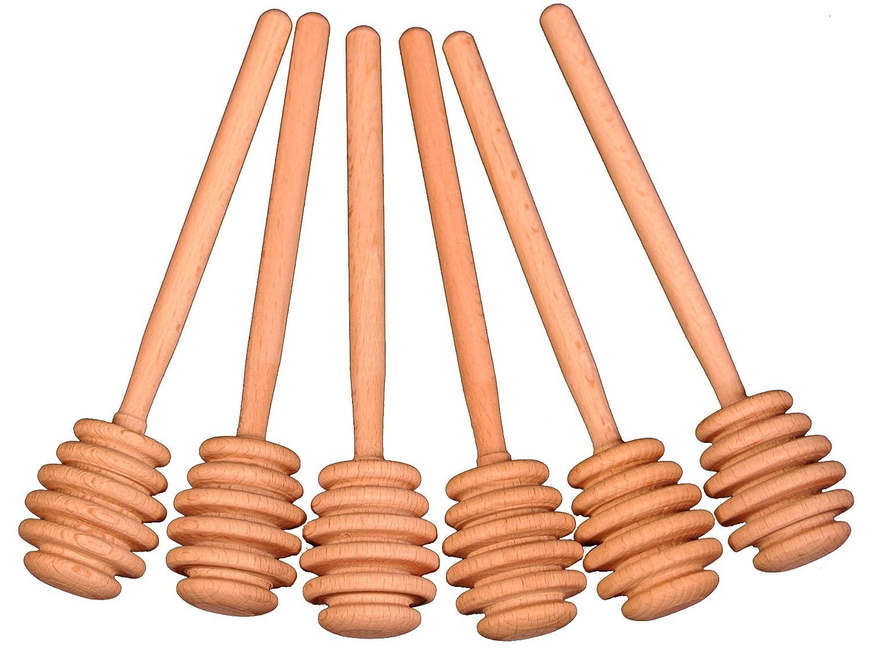 Creative Hobbies 6 Inch Wood Honey Dipper Stick Server for Honey Jar Dispense Drizzle Honey New -Pack of 6 SYNCHKG048108