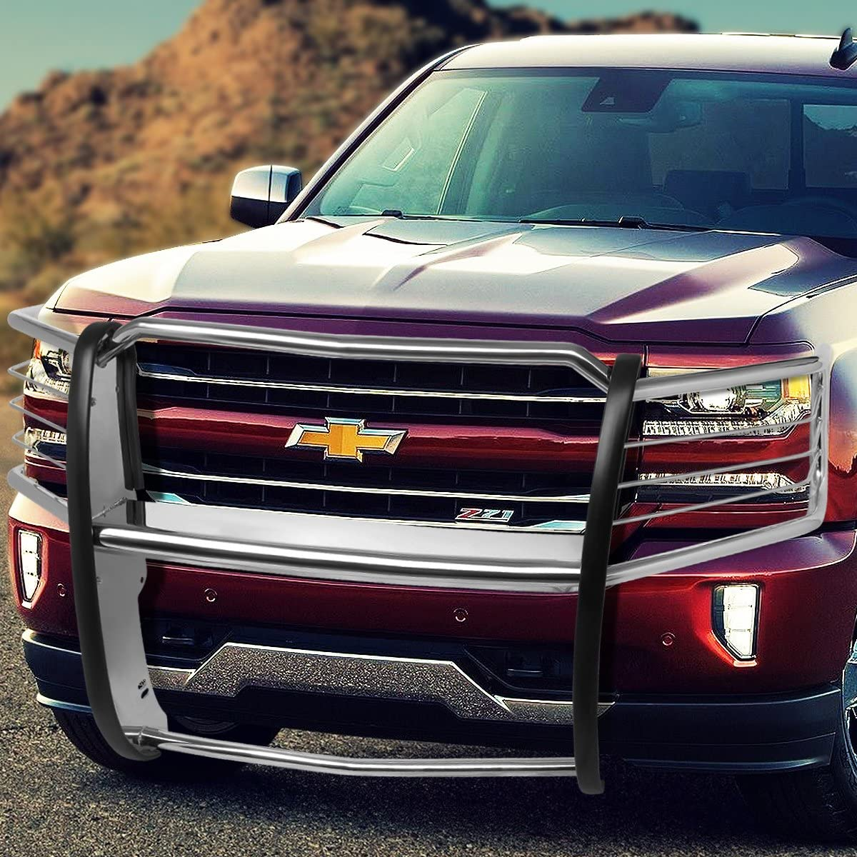 for 14-18 Chevy Silverado 1500 DNA Motoring 1 Pack GRILL-G-073-BK Front Headlight//Grille Brush Guard