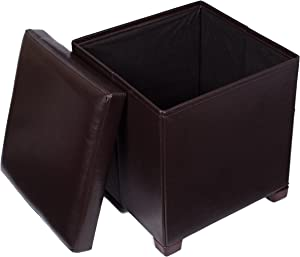 BIRDROCK HOME Faux Leather Folding Storage Ottoman with Legs- 16 x 16 - Strong and Sturdy - Quick and Easy Assembly - Foot Stool - Dark Brown