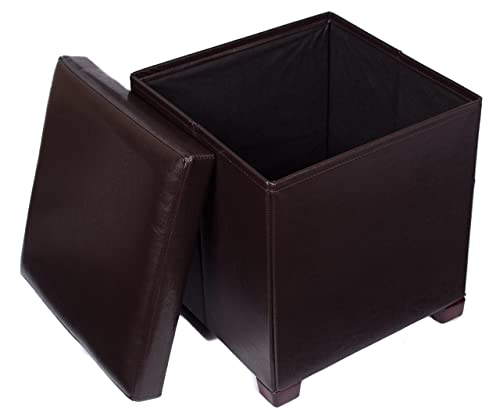 BIRDROCK HOME Faux Leather Folding Storage Ottoman with Legs- 16 x 16 – Strong and Sturdy – Quick and Easy Assembly – Foot Stool – Dark Brown