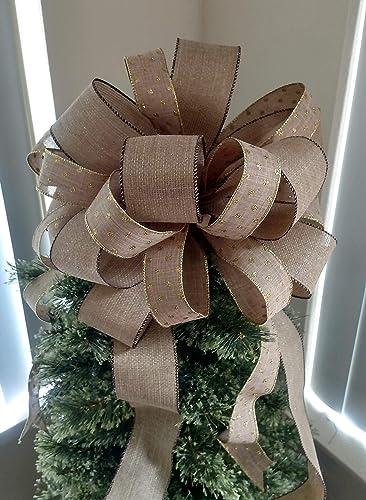 Amazon Com Large Burlap Tree Topper Bow Christmas Tree Topper