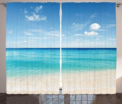 blue and aqua sand valance beach house ocean