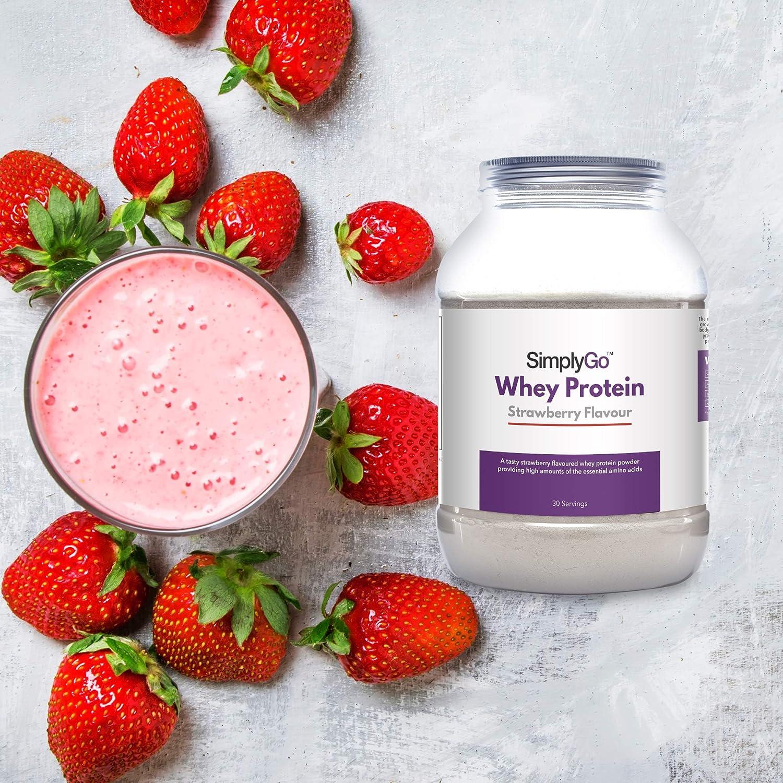 Proteína de Suero de Leche Sabor Fresa - ¡30 Raciones! - Apto para vegetarianos - 900gr - SimplySupplements