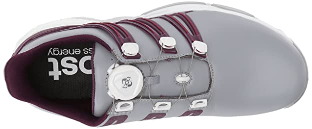 new arrival 95d3e 9335b Amazon.com   Adidas Powerband BOA Boost Golf Shoe, Mid Grey Red Night Mystery  Ruby, 11.5 M US   Golf