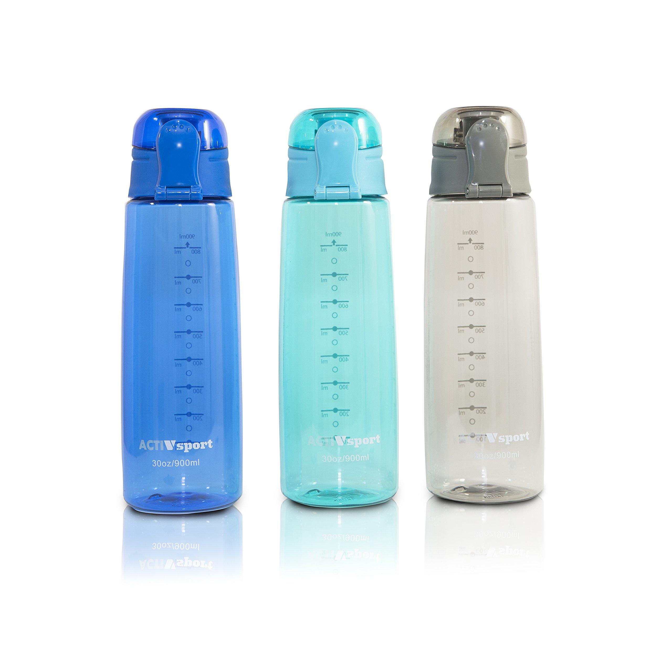 Sports Water Bottle 3-Pack Multi-Pack, 3 Colors - Eastman Tritan, BPA-Free, Leak-Proof - Secured & Locking Lid, Break-Resistant - 30oz (900mL) - by Unity … (Gray/Turquoise/Blue)