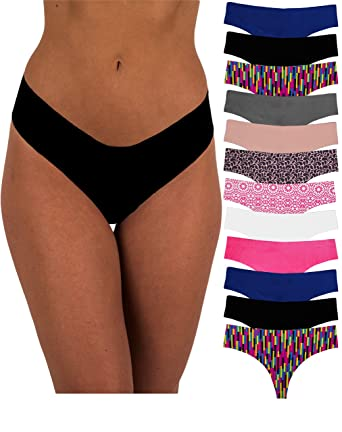 885a63337bf Sexy Basics Women s Invisible No-Show Seamless Active Hi Waist Sport Thong  Panties (12 Pack) at Amazon Women s Clothing store
