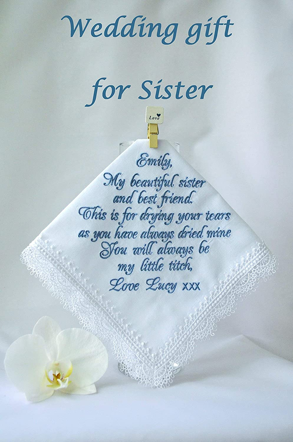 Amazon Sister Wedding Gifts Personalized Handkerchief Sister Of
