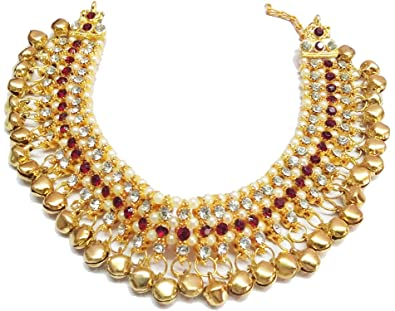 3c6b645977fc1b Bollywood Fashion Export Marun White Stone Pearl And Golden Ghungroo  Payal/Anklet For Women And